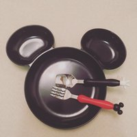 Wholesale Cartoon Dinnerware Set INS Mickey Minnie Mouse Kids Fork Spoon Stainless Steel Creative Easy to Carry Tableware Dining Tea Time Children pc