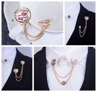 american car logos - Cars Cadillac logo brooch chain tassel brooch suit collar shirt collar corner jewelry accessories collar pin brooch shield