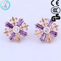 amazon earring - 2016 new European Ladies classic Snowflake Earrings zircon fashion elegant hypoallergenic colors Amazon hot Christmas Thanksgiving
