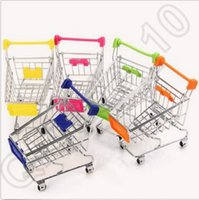 bathroom carts - 120pcs CCA4261 High Quality Candy Color Cute Shopping Cart Mobile Phone Holder Pen Holder Mini Supermarket Handcart Shopping Utility Cart