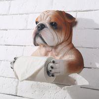 dog toilet - handmade resin bull dog shape cute creative hanging bathroom tissue box toilet paper holder roll hanging holder home decoration