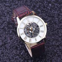 Wholesale 2016 Best Deal Fashion Golden hollow watch Luxury Casual steel Men s Watch Business Imitate Mechanical Watch Male clock relogio