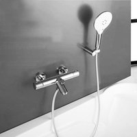automatic temperature control valve - Wall Mounted Chrome Shower Mixer Thermostatic faucet Shower Taps Automatic Temperature Control Water Valve TV012