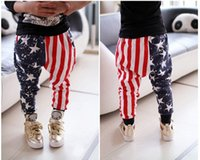 Wholesale American flag Baby Boys Pants Autumn AB star stripe Flags Children Long Pant Printed Kids trousers Cool Children Harem Pants