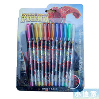 Wholesale New Arrive Product Box Hotsale Cartoon Spiderman Color Glitter Pen Pen