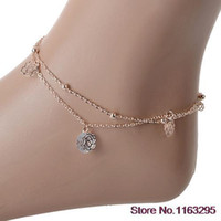 Cheap Hot Sexy Rose Double Layer Copper Beach Sandal Ankle Chain Anklet Foot Bracelet