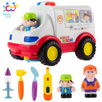 Wholesale Pretend play doctor toys sounding flashing muscial moveable multi function almighty ambulance car children s electric car toys