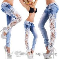 Wholesale Hollow Out Hook Flower Close Bound Feet Pencil Wash Goods In Stock Female Bell Bottom Men Jeans For Women Woman Dresses
