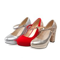 Wholesale Red gold sliver Glitter Wedding Shoes Bridal Shoes Tassels buckle Ankle Strap Chunky Heels pumps Red rubble Sole colors Size to