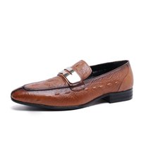 animal print dress uk - New mens real Leather Dress Shoes Double Monk Strap Buckle brown Formal UK Size