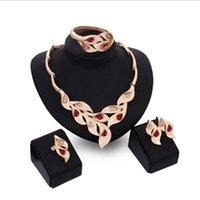 best diamonds online - Online for sale best gift leafs Jewelry Sets necklace bracelet red gemstone earrings rings K gold jewelry family of four GTOMKS051B