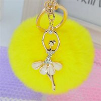 Wholesale 8cm Rabbit Fur Ballet Girl Pom Pom Key Chains Bag Car Ornaments Pendant Key Rings Llaveros Mujer Chaveiro Carro