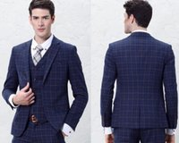 best bridal shops - 2016 king shop hot sale Blue Grid Groom Tuxedos Wedding Suits Best Man Suits Bridal Suits Custom Made