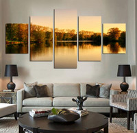 beautiful lake pictures - Beautiful autumn tree lakes and mountains Panels Set HD the picture Canvas Print Painting Art work decorative painting