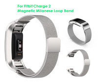 band wristbands - Magnetic Milanese Loop Metal Band For Fitbit Charge Charge2 Wristband Stainless Steel Watch Band Bracelet Mesh Strap Replacement