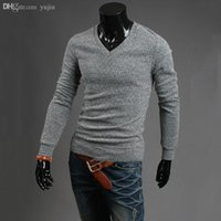 Wholesale Small Horse V Neck Men s Sweater Brand Winter Autumn Long Knitwear Pullovers Jumper Cashmere Sweaters sueter masculino