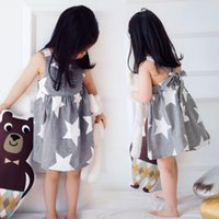 Summer baby star patchwork - Retail INS Suspender Kids Dresses Baby Girl Clothes Striped Star Printed Baby Girls Princess Dress Summer Style Girls Backless Dress