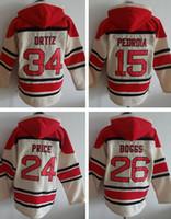 Wholesale OLD TIME men s hockey hoody hoodies red sox dustin pedroia david ortiz David Price Wade Boggs cream