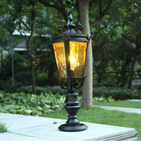 advanced casting - LED post lights European American classic elegant style led post lanterns pathway lighting fixture die casting aluminum body advanced glass