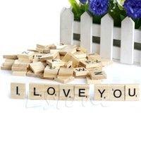 alphabet tiles - 100 Wooden Alphabet Scrabble Tiles Black Letters Numbers For Crafts Wood New