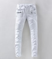 american yard - 2016 famous brand designer crime balmain knight white jeans men s casual jeans yards