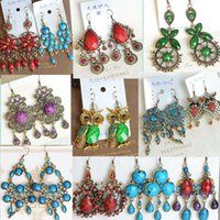 Wholesale Mix order vintage bohemian earrings galzed gemstone resin bronze silver long tassel statement bohemian dangle fashion jewelry bulk