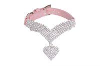 basic diamond - Rhinestone Diamond Soft Velvet Pet Puppy Dog Cat Collars Necklace Heart pendant Chains Colors assorted