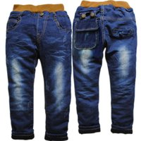 Wholesale 3674 denim and thin fleece winter pants boys jeans girl trousers children s kids jeans fashion new nice