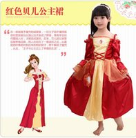 belle shop - Free shopping Beauty and the Beast Belle Evening Gown Yellow and red Dress Cosplay Costume for kids and girls Sleeves can be removed