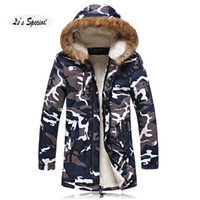 Wholesale Fall Winter Jacket Men Casual Style Long Winter Coat Male Parka Fleece Inside Winter Camouflage Coat Fur Hat Plus XL XL Vinterfrakk