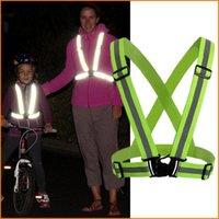 Wholesale Safety Clothing Running Adjustable Safety Security Visibility Reflective Vest Gear Stripes Jacket for Running Cycling Walking
