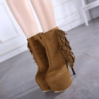 ankle bootie heels - 16CM Trendy Super High Platform Brown Black Suede Tassels Fringed Tassels Ankle Bootie Women Winter Boots Size To