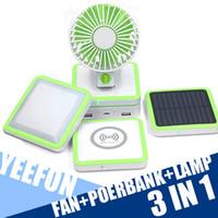 mini solar panel - Multi Function Power Bank Portable Noiseless Mini Fan Qi Wireless Charger Camping Lamp Solar Panel mAh Power Bank