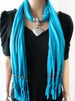 scarf pendants - New Style Love Peach Heart Pendant Jewelry Necklace Scarves Europe Fshion Women Sexy shawl mixed colors
