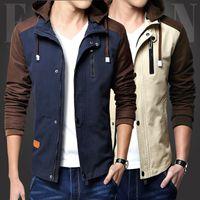 argyle fit - Hot Sales Mens Vintage Coat New Arrival Jacket Men Autumn Fashion Dot Stitching Cotton Korean Slim Fit Outdoor Casual Mens Hooded Jacket