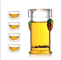 add double - New ml Heat Resisting Glass Flower Teapot add Four Double wall Cup Drinkware Clear Teapot With Lid