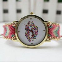 ladies dress fabric - 2016 New Design Girl Style Women Watch High Quality Casual Watches Simple Ladies Quartz Weave Strap Wristwatch Dress Watch Colors