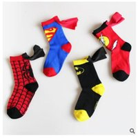 Wholesale Christmas Socks Unisex Cute Superhero Socks With Cape Kids Cartoon Socks Children Socks Anti Slip Superman Batman