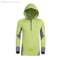 Precio de Camiseta para correr verde-Venta al por mayor-Deporte Verde Protección Solar Anti-UV Moleton Masculino Casual Anti Bacterial Wicking Camiseta Hoodies Hombres corriendo Seca Rápida Chaqueta