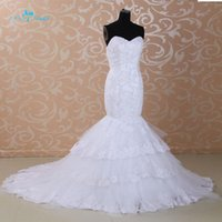 Wholesale real picture lace tiered long train sleeveless sweetheart sequin mermaild wedding dress J HLA6