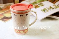 Wholesale Min order mixed items Ceramic cup Breakfast Milk Mug with Lid Lace Pattern Painting Milk Cup Coffee mug