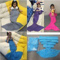 Wholesale Kids Crochet Blankets Handmade Mermaid Blanket Sofa Nap Blankets Children Mermaid Swaddle Mermaid Tail Sleeping Blanket Children s Blanket
