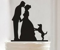 Wholesale Wedding Cake Toppers Kissing Bride and Groom Following a Dog Abstract Black Color Wedding Party Decorations