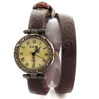 antique print dress - New printed bracelets antique style women dress watch luxury quartz wristwatch ladies retro leather watches W1698