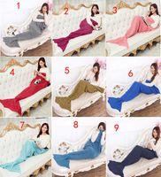 Wholesale Mermaid Tail Blanket Super Soft Hand Crocheted cartoon Sofa Blanket air condition blanket X90cm