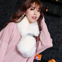 Wholesale lovely and cute warm artifical fox fur lady and woman scarf ring muffler bandelet shawl with banding tie