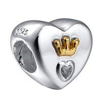 achat en gros de zircon bracelet de charme coeur-Vente en gros 925 Sterling Silver Hearts Couronne Effacer Zircon Charm Charms Perles Fit Pandora Serpent Bracelet chaîne Bijoux DIY