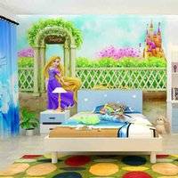 beauty girl wallpapers - Factory direct large scale non woven natural beauty princess boy girl boy cinema room decor mural wallpaper shipping speed hair