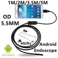 Wholesale 5 mm Lens USB Endoscope LED IP67 Waterproof Camera Endoscope M M M Mini Camera Android OTG Phone Mirror Hook As Gift