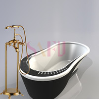 Wholesale Brass Luxury Gold Plate Bathtub Faucet Floor Standing Shower Tub Faucet floor taps with hot and cold control faucet